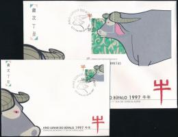 Chinese New Year, Year of the Buffalo + block on 2 FDC, Kínai újév, a bivaly éve + blokk 2 db FDC-n