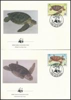 WWF: Turtles set on 4 FDC, WWF: Teknős sor 4 db FDC-n