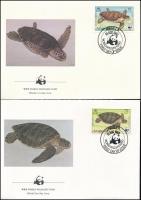 WWF: Turtle set on 4 FDCs, WWF: Teknős sor 4 db FDC-n