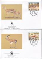 WWF: Gazelle set on 4 FDCs WWF: Gazella sor 4 db FDC-n