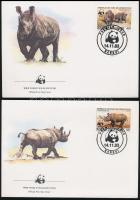 WWF Black rhinoceros set + FDC Keskenyszájú orrszarvú sor + FDC-n