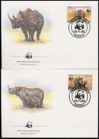 WWF Rhinoceros noir set + FDC, WWF: Keskenyszájú orrszarvú sor + FDC-n