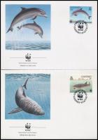 WWF Sea animals set + FDC, WWF: Tengeri állatok sor + FDC-n