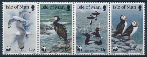 WWF Seabirds stripe of 4 + FDC, WWF: Tengeri madarak négyescsík + FDC-n