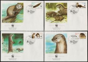 WWF Otter set + set on 4  FDCs WWF: Vidra sor + 4 db FDC-n
