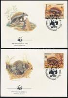 WWF capybara set closing value on 4 FDC-s WWF: Vízidisznó sor záróértékei  4 db FDC-n