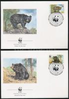 WWF Asian black bear block of 4 + 4 FDC, WWF: Örvös medve négyestömb + 4 db FDC-n