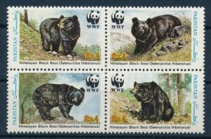 WWF Asian black bear set block of 4 + 4 FDC, WWF: Örvös medve négyestömb + 4 db FDC-n