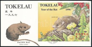 Chinese New Year: Year of the Rat block FDC, Kínai újév: A patkány éve blokk FDC-n