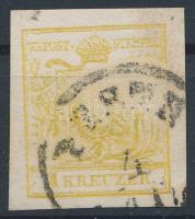 1850 1kr MP III világos kadmium sárga ,,PESTH Certificate: Babor