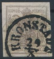 1850 6kr szürkésbarna HP III, papírránc ,,KRONSTADT Certificate: Babor