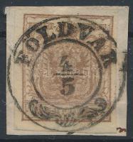 1850 6kr barna HP III ,,FÖLDVÁR (enyhe regiszterhajtás) Certificate: Babor