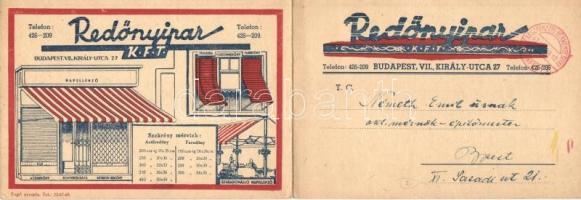 Redőnyipar Kft. kihajtható reklámlapja. Budapest VII. Király utca 27. / Hungarian shutter companys foldable advertisement card (EK)
