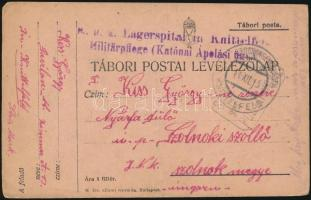 1915 Tábori posta levelezőlap / Field postcard K.u.k. Lagerspital in Knittelfeld Militärpflege (Katonai Ápolási ügy)