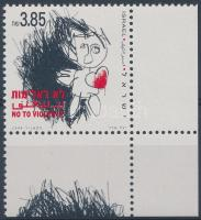 No to violence corner stamp with tabs + on FDC, Erőszak ellen ívsarki tabos bélyeg + FDC-n