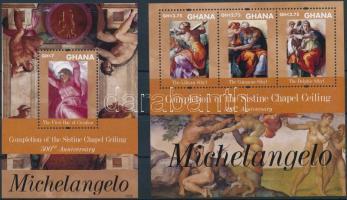 Ghana Michelangelo - The ceiling fresco of the Sixtus chapel mini sheet + block, Ghána Michelangelo - A Sixtus-kápolna mennyezetfreskója kisív + blokk