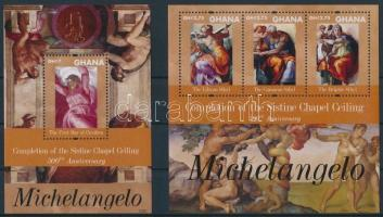 Completion of the Sistine Chapel minisheet + block, Michelangelo - A Sixtusi-kápolna mennyezetfreskója kisív + blokk