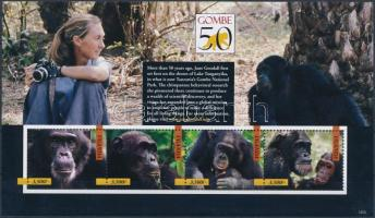 Jane Goodall, the world-famous chimpanzee researcher mini sheet set, Jane Goodall, a világhírű csimpánzkutató kisívsor