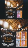 Pope Benedict XVI 85th Birthday minisheet + block XVI Benedek pápa 85. születésnapja kisív  + blokk