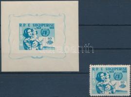 Declaration of Human Rights stamp + imperforated block, Emberi jogok nyilatkozata bélyeg + vágott blokk
