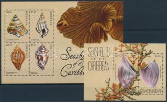 Seashells minisheet + block, Kagylók kisív + blokk