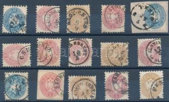 15 stamps nice / readable cancelaltions, 15 db bélyeg kivágáson szép / olvasható bélyegzéssekkel
