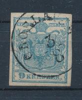 1880 9kr HP II. b selyempapír, világoskék OROSLAVJE Certificate: Babor