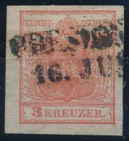1850 3kr HP I. rózsaszín, kiemelt középrész PRESZB(URG) Certificate: Strakosch