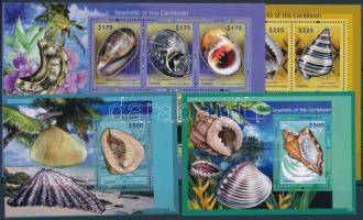 Seashells minisheet set + block set, Kagylók kisívsor + blokksor