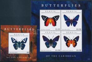 Butterfly minisheet + block, Lepke kisív  + blokk