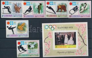 Winter Olympics, Sapporo, imperforated set + block, Téli Olimpia, Sapporo vágott sor + blokk
