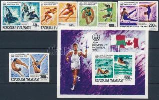 1976 Nyári Olimpia, Montreal vágott sor Mi 775-779 + blokk 10