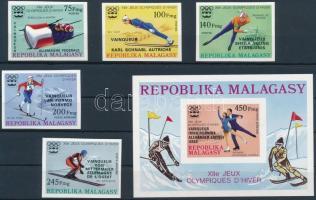 1976 Olimpiai érmesek vágott sor felülnyomással Mi 802-806 + vágott blokk 13