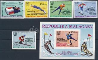 Olympic winners overprinted set + imperf.block Olimpiai érmesek vágott sor felülnyomással  + vágott blokk