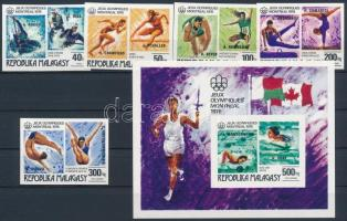 1976 Olimpiai érmesek vágott sor felülnyomással Mi 822-826 + vágott blokk Mi 16