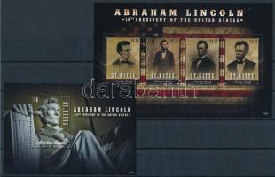 2012 Abraham Lincoln kisív Mi 1301-1304 + blokk Mi 124