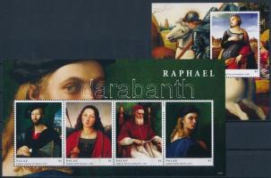 Raphael, paintings mini sheet + block, Raffaello, festmények kisív + blokk