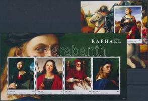 Raffaello, paintings minisheet + block, Raffaello, festmények kisív  + blokk