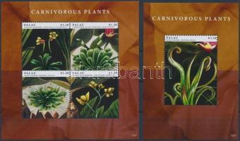 Carnivorous plants minisheet + block, Húsevő növények kisív  + blokk
