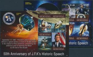 Anniversaries, Kennedy, Space Travel mini sheet set, Évfordulók, Kennedy, űrutazás kisívsor