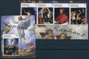 Raffaello Sanzio minisheet + block, Raffaello festmények kisív + blokk