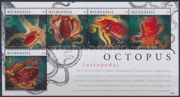 Tengeri állat, polip kisív, Octopus minisheet