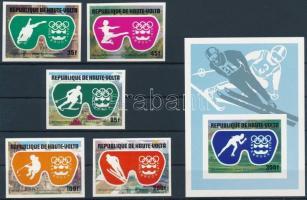 1975 Téli Olimpia, Innsbruck vágott sor Mi 603-607 + vágott blokk 39