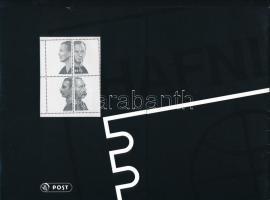 2001 Hafnia bélyegkiállítás ötöscsík + blokk + a blokk fázisnyomata és 150 éves a dán bélyeg négyestömb ünnepi kiadás, dísztokban Mi 1273-1276 + 1287-1290 + blokk 17