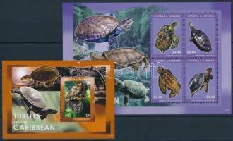 Turtles mini sheet + block, Teknős kisív + blokk