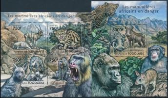 Rare African mammals mini sheet + block, Ritka afrikai emlősállatok kisív + blokk