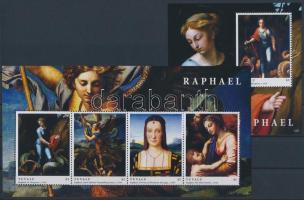 Raffaello paintings minisheet + block, Raffaello festmények kisív + blokk