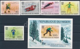 1976 Téli Olimpia, Innsbruck vágott sor Mi 506-510 + vágott blokk 12