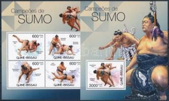 Sumo wrestlers mini sheet + block, Szumóbirkózók kisív + blokk