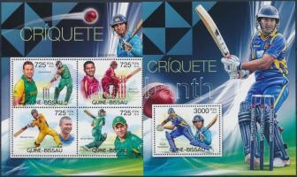 Cricket players minisheet+block, Krikett játékosok kisív  + blokk
